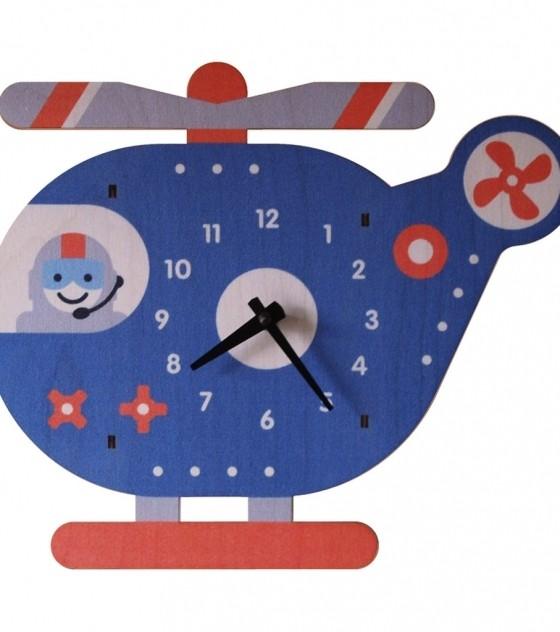Настенные детские 3D-часы Пилот вертолета