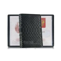 Черная матовая обложка для паспорта из кожи питона