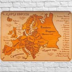 Деревянный пазл в светлой рамке Карта Европы. Русский язык