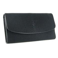 Женский кошелек из кожи ската черного цвета