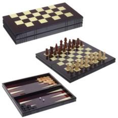 Черный набор настольных игр 3 в 1 шахматы, нарды, шашки