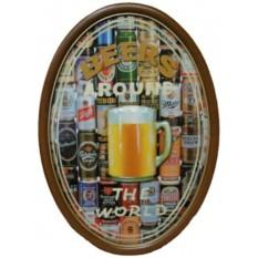 Барное панно из дерева Пиво - вокруг света