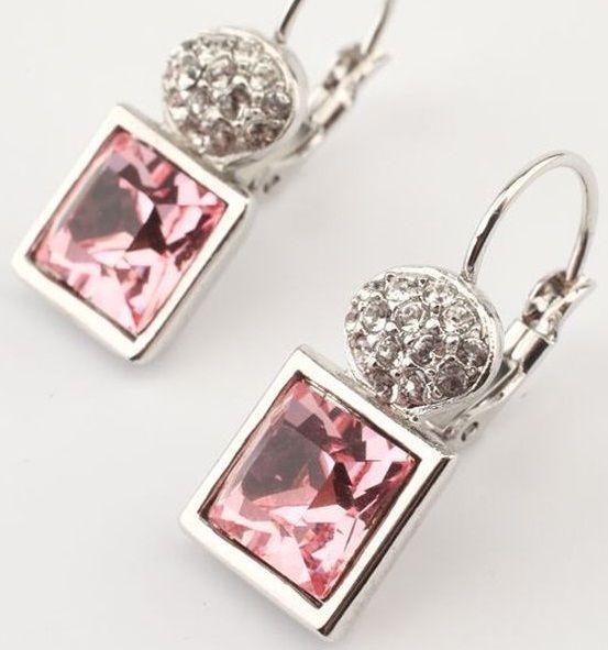Серьги с кристаллами Swarovski Мечта, квадратные, розовые
