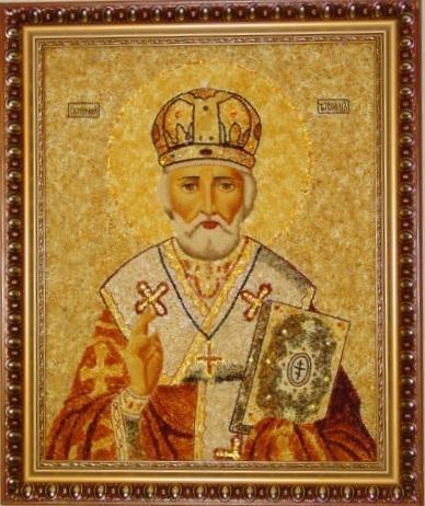 Икона из янтаря Святой Николай Угодник