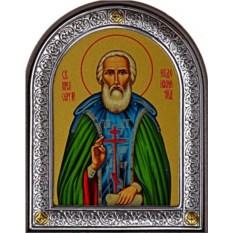Маленькая икона в серебряной раме Сергий Радонежский