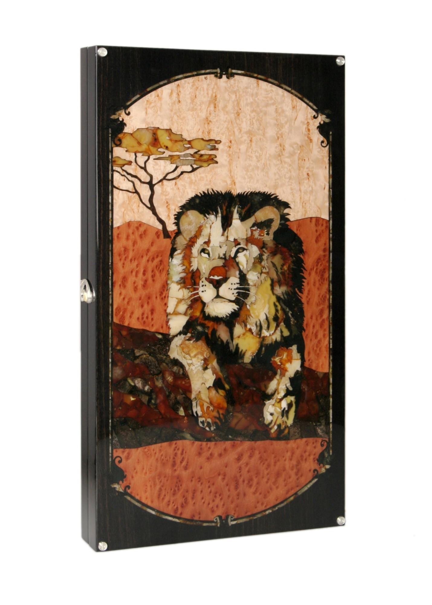 Подарочные нарды янтарные Царь зверей в саванне