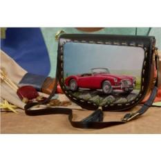 Женская кожаная сумка-седло Красный кабриолет