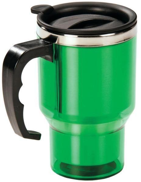 Пластиковая зеленая термокружка