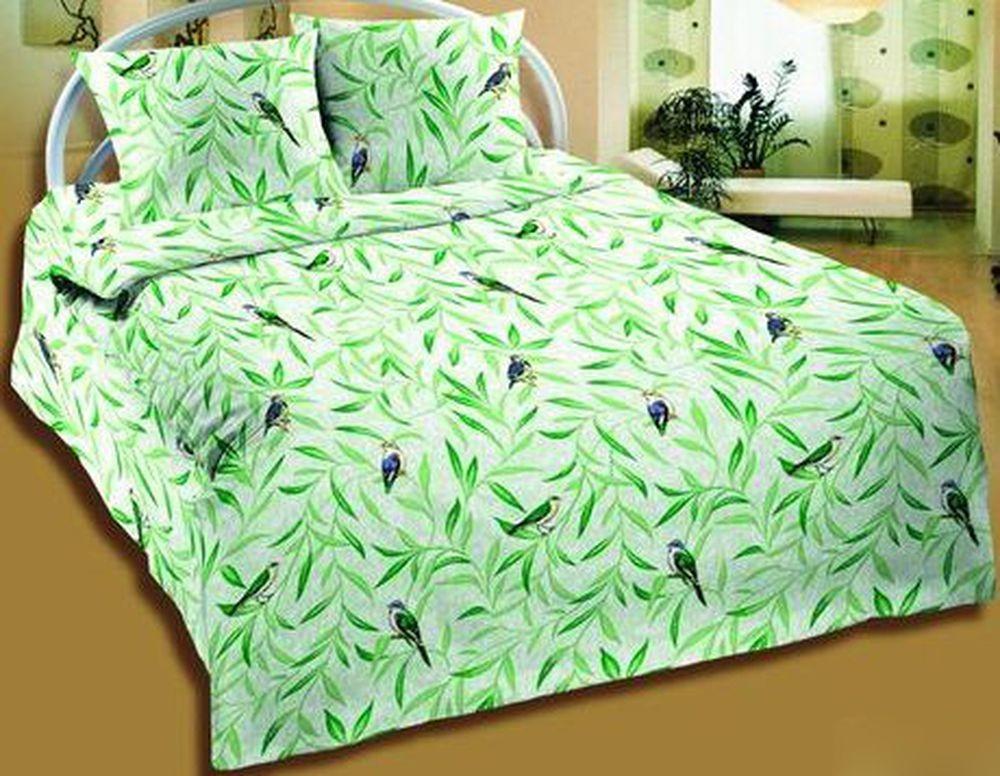 Комплект постельного белья Птицы зеленые (бязь)