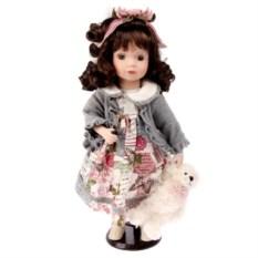 Коллекционная кукла Мила в сером жакете и с мишкой