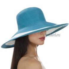 Голубая широкополая пляжная шляпа Del Mare