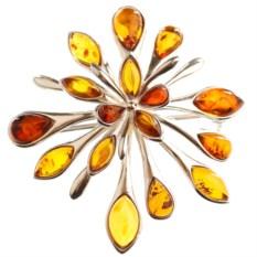 Серебряная брошь с янтарём Большой цветок