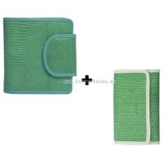 Женский кошелек и ключница из кожи ящерицы (цвет: зеленый)