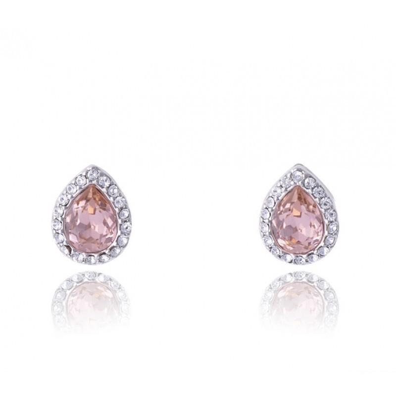 Серьги «Хрустальные капли» с розовыми кристаллами Сваровски