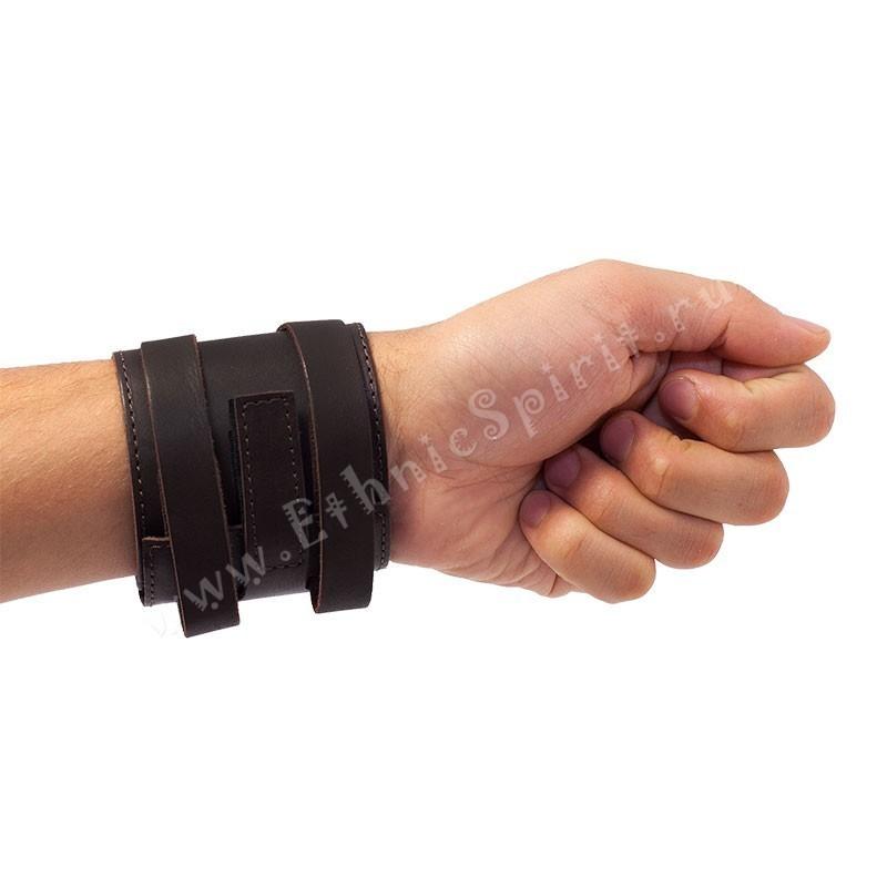Кожаный браслет-напульсник с застежкой на липучке