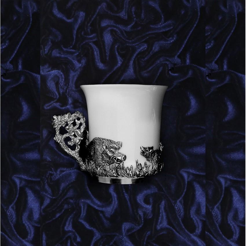 Серебряная кофейная чашка Кабан, чернение