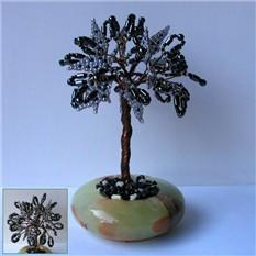 Дерево счастья из гематита в чаше из оникса