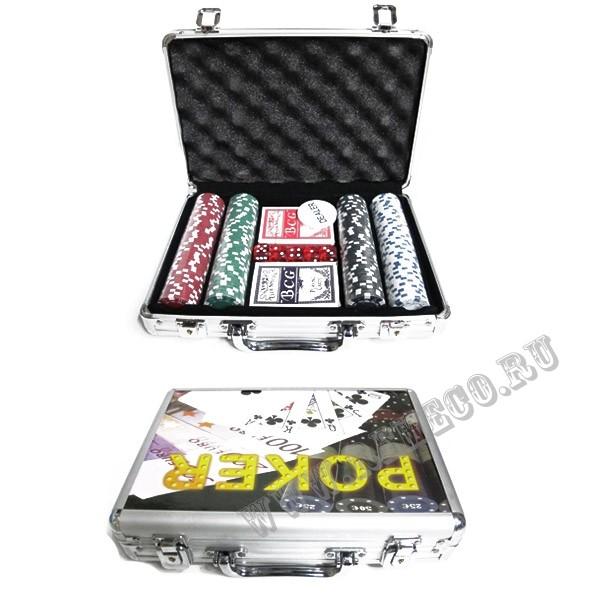 Настольная игра Покер в серебряном пластиковом кейсе