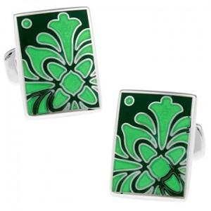 Запонки Зеленые листья