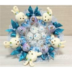 Букет из 5 зайчиков с голубыми бантами