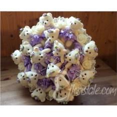 Фиолетовый букет из 17 мишек