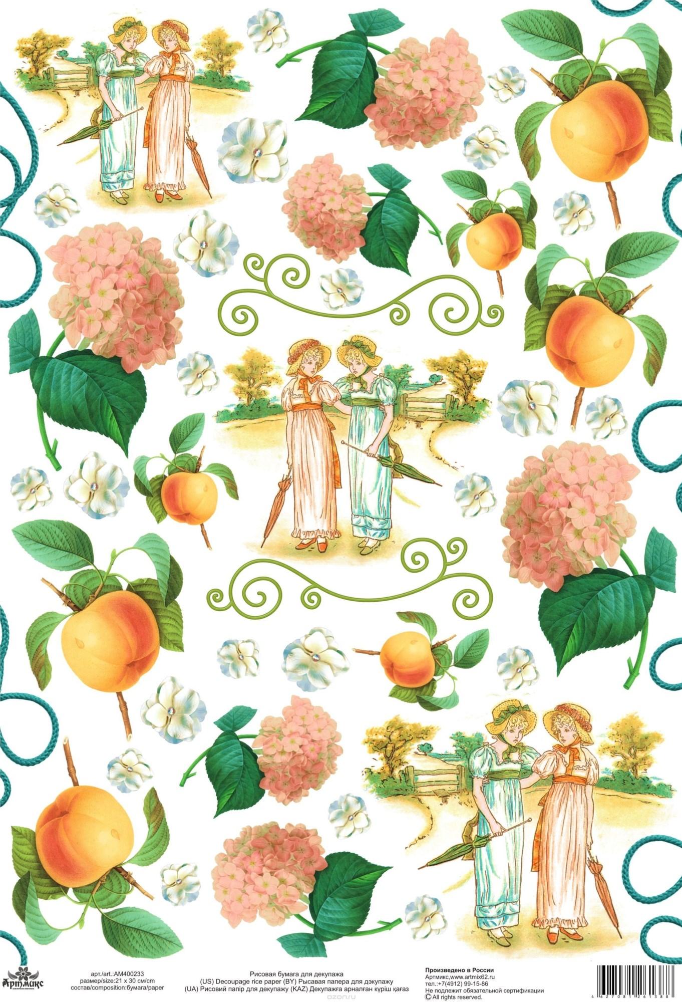 Рисовая карта для декупажа Девушки, гортензии, персики