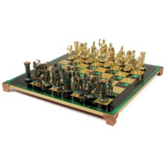 Металлический зеленый шахматный набор Античные войны