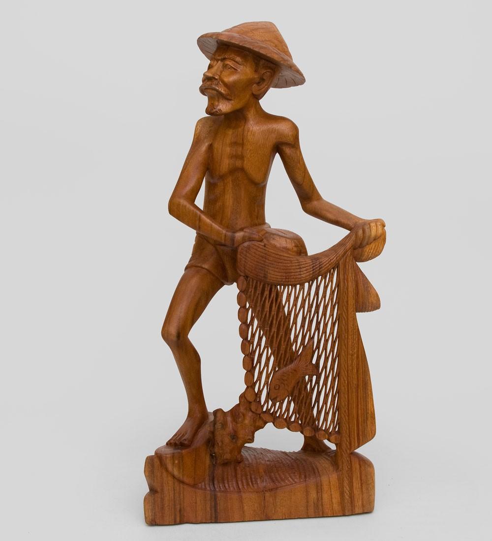 Статуэтка из суарового дерева Рыбак (50см)