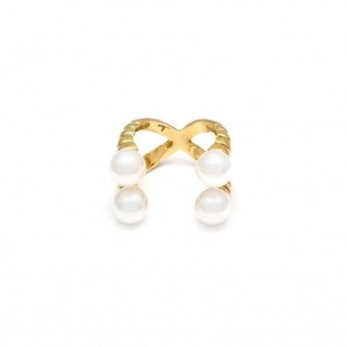 Двойное позолоченное кольцо с натуральным жемчугом