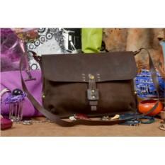 Коричневая кожаная сумка ручной работы QZ Valincia