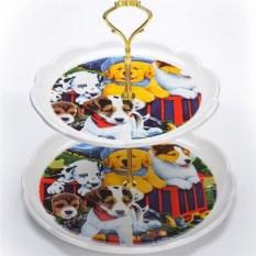 2-х ярусная конфетница Собачки в коробке