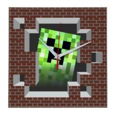 Квадратные настенные часы в стиле Minecraft
