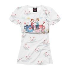 Белая женская футболка День Святого Валентина