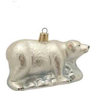 Украшение елочное стеклянное Белый медведь