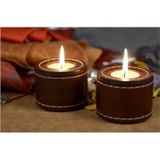 Комплект подсвечников из тёмно-коричневой кожи Elole Design