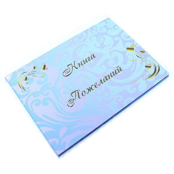 Книга пожеланий №9 Голубая с розовым узором