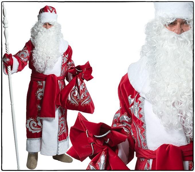 Костюм Дед Мороз, бархат Х/Б с вышивкой