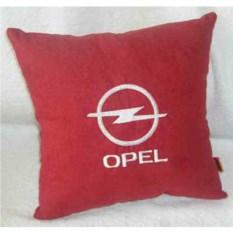 Красная с белой вышивкой подушка Opel