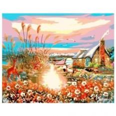 Раскраска по номерам Дом у озера