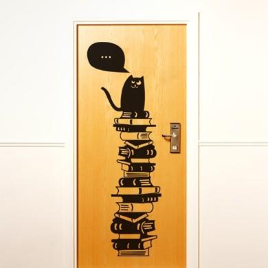 Интерьерный стикер Кот и со вкусом подобранная библиотека
