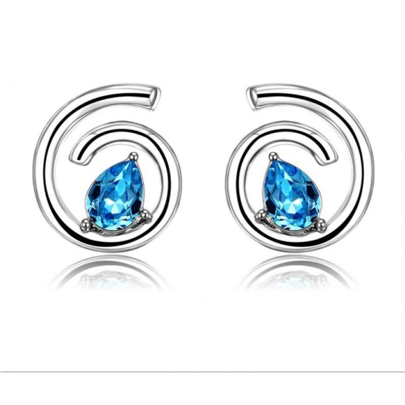 Серьги «Бесконечность» с голубыми камнями Сваровски