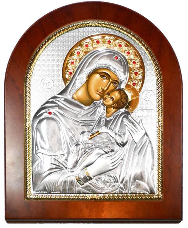 Икона Божьей Матери Сладкое лобзание в серебряном окладе