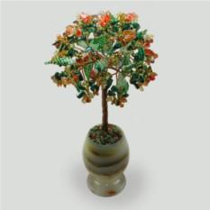 Дерево из малахита и сердолика Осенний блюз