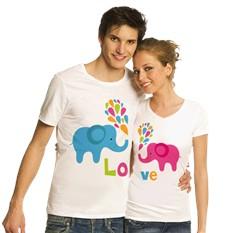 Парные футболки со слониками Love