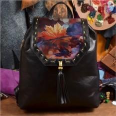 Женский кожаный рюкзак ручной работы Осенний лист