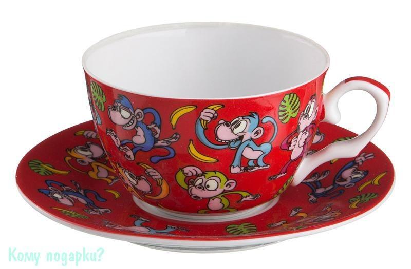 Чайный набор на 1 персону «Обезьяны», 250 мл, красный