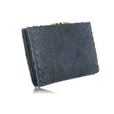 Синий женский кошелек из кожи питона размером 130х95 см