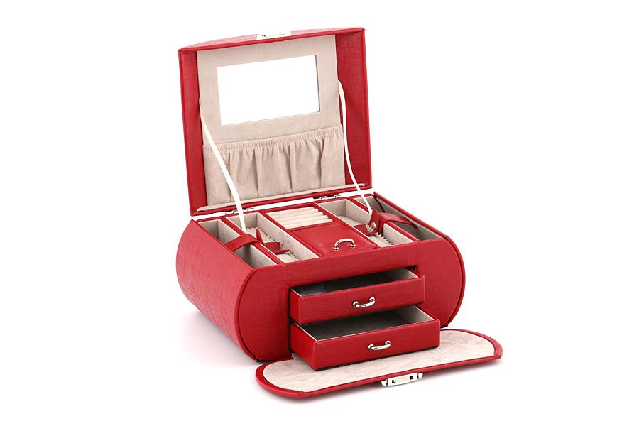 Красная шкатулка-сундучок для ювелирных украшений