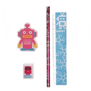 Канцелярский набор Retro Robot (ярко-розовый)