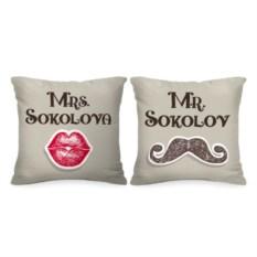 Именные парные подушки Mr. и Mrs